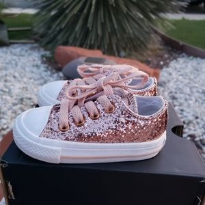 Converse - Girls 4c Pink Rose Gold Shoes All Stars